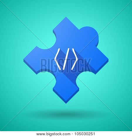 Long Shadow Puzzle Icon With A Code Sign