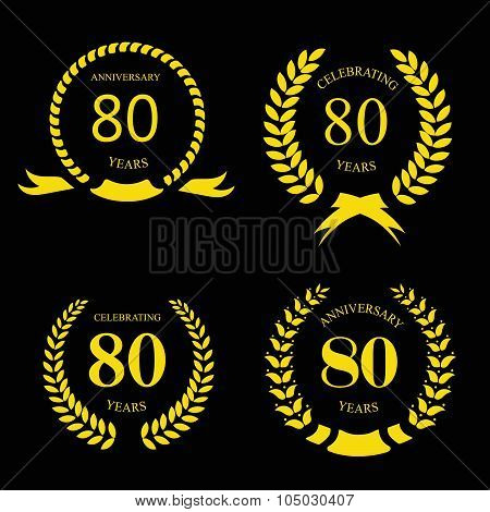 80 eighty years  icon Template for celebration and congratulation design. 80th anniversary laurel go