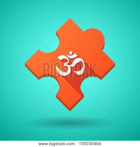 Long Shadow Puzzle Icon With An Om Sign