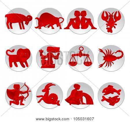 Set of red zodiacal signs with figure on white circles. Original design. Vector illustration
