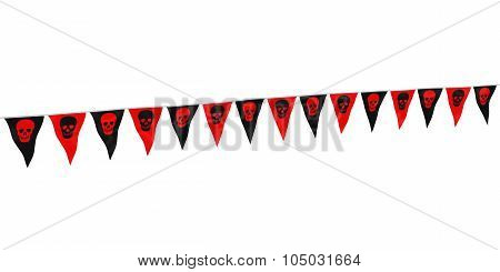 Red And Black Skulls Halloween Bunting At Angle