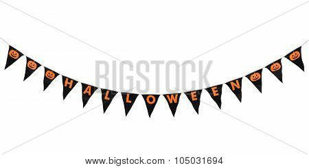 Black And Orange Halloween Pumpkins Hanging Bunting Curve Isolated On White