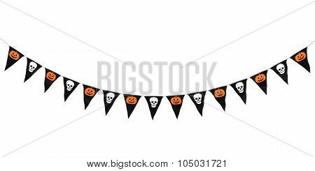 Pumpkins And Skulls Hanging Bunting Curve Isolated On White