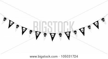 Black And White Skulls Hanging Bunting Curve Isolated On White