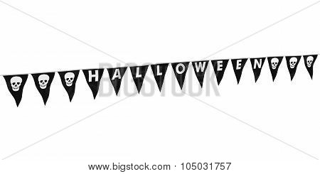 Black And White Skulls Halloween Bunting At Angle