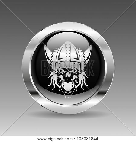 Black Glossy Chrome Button - Skull Viking