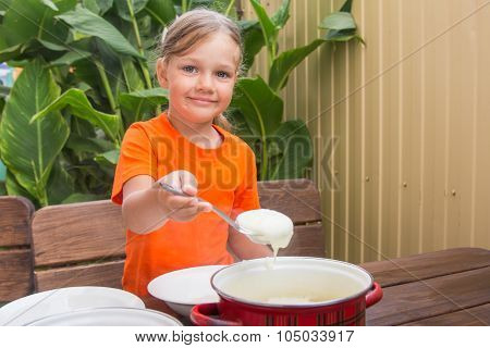 Girl With A Smile Imposes Semolina His Plate