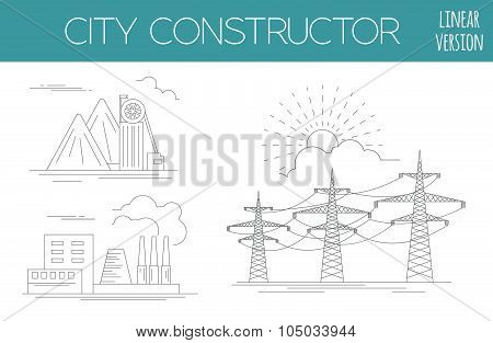Great city map creator. House constructor. Infrastructure, industrial, transport. Outline version