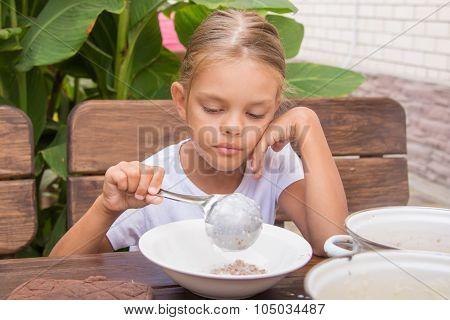 Six Year Old Girl Puts His Plate Buckwheat