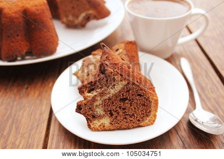 Marble cake on wooden table