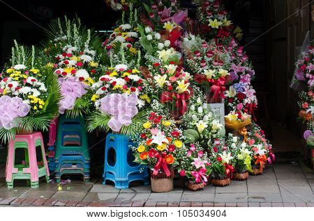 Flower Shop In Pak Klong Talad, Bangkok, Thailand