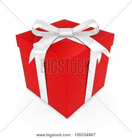 Red Present Tied With A White Bow - 3D Render Of A Red Gift Box With A White Ribbon Isolated On Whit