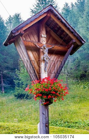Typical Wooden Wayside Cross In Mountain