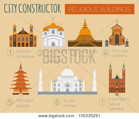 Big set City generator. House constructor. Religious buildings. Make your perfect city