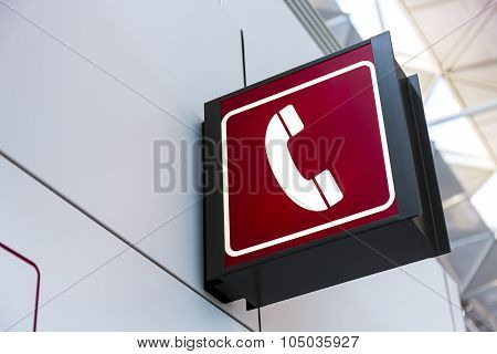 Telephone Sign Lightbox In The Airport