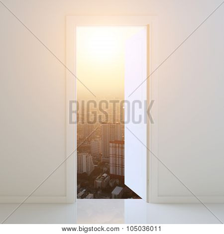 Door Open To City At Sunset Background