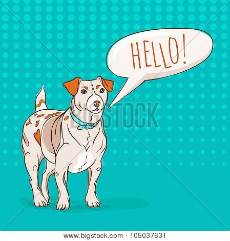 Cute Jack Russel Terrier dog saying HELLO to you.