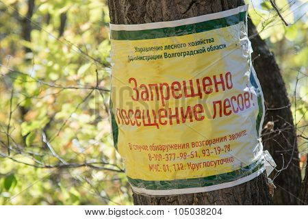 Information Plate On Wood - Do Not Visit The Forest