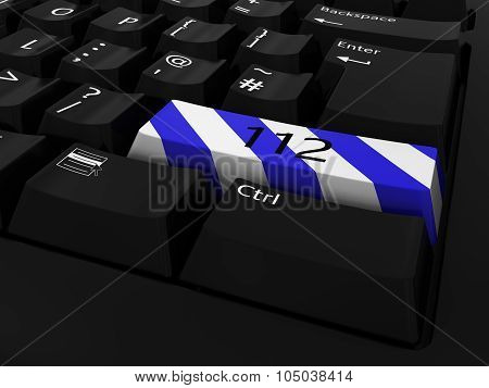 Blue And White Striped 112 Key Keyboard Background