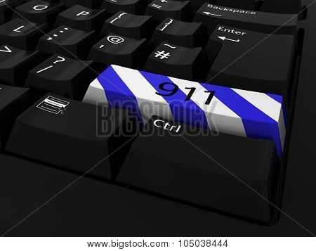 Blue And White Striped 911 Key Keyboard Background