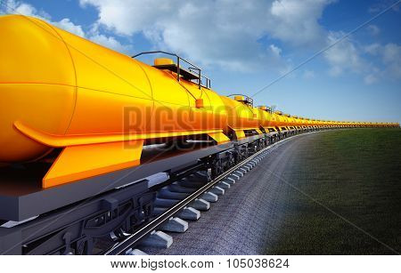 Wagon Of Oil Cisterns Train On The Sky Background