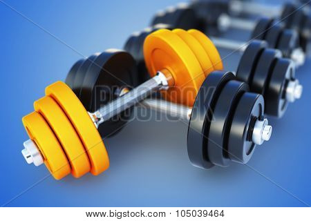 3D Illustration Of Dumbell On Blue Background