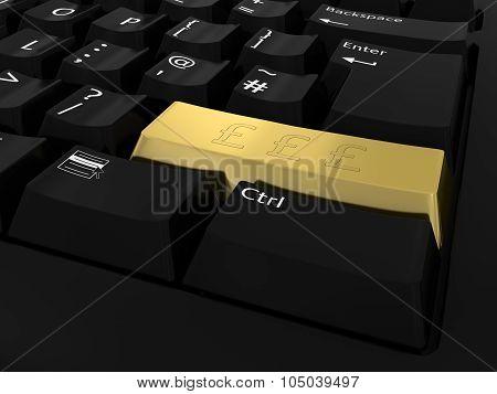 Golden Pound Symbol Button Computer Keyboard Background