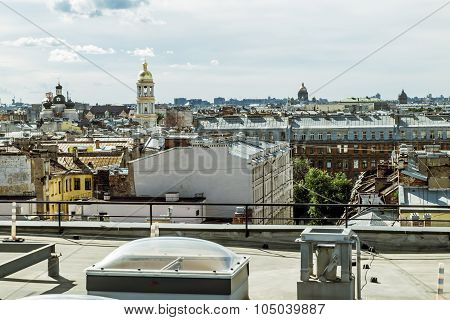 The View From The Roof Of St. Vladimir's Cathedral And The Rooftops Of The City.saint-petersburg.rus