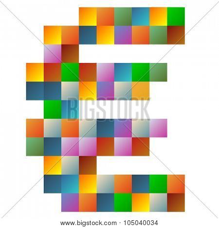 Colorful euro currency text in vector
