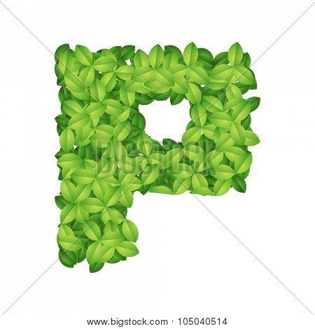 Green foliage alphabet letter vector