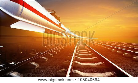 3D Illustration Of Freight Train With Oil Cisterns On The Sky Background