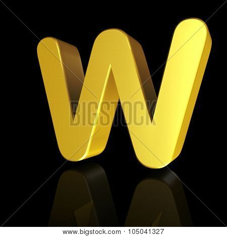 Gold Letter W In 3D
