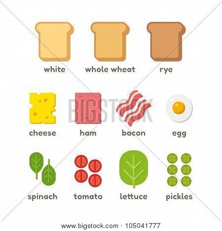 Sandwich Ingredients Illustration