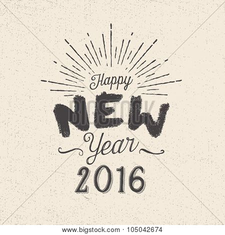 Handmade style greetings card - Happy New Year 2016 - Vector EPS10.
