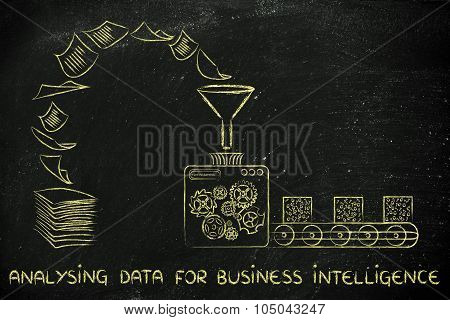Business Intelligence And Analysing Data: Factory Machines Transforming Documents Into Organised Dat