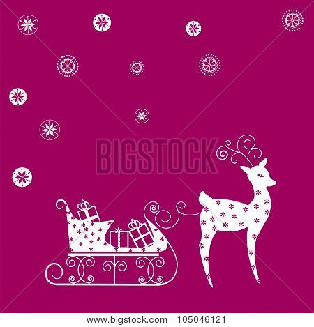 deer on a red background