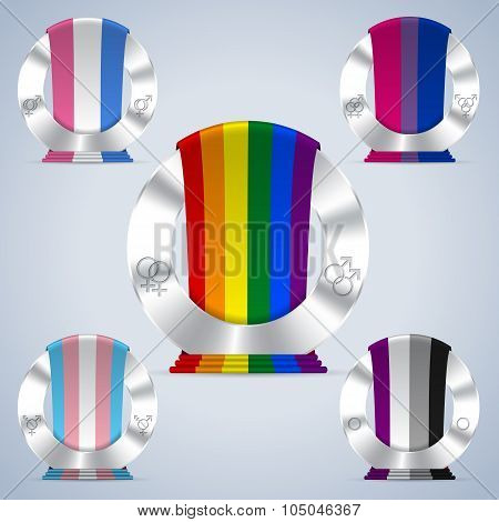 Sexual Orientation Badges With Flag Ribbons