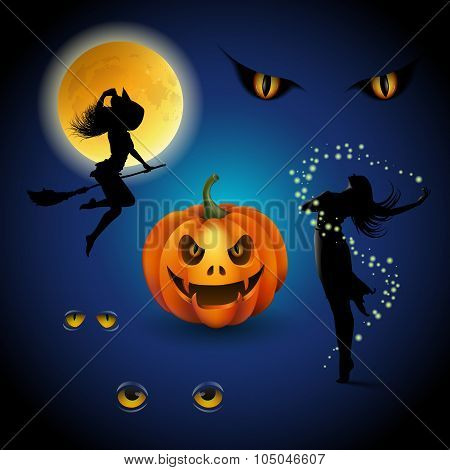 Colorful Halloween Decorative Elements