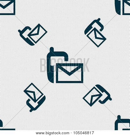 Mail Icon. Envelope Symbol. Message Sms Sign. Seamless Pattern With Geometric Texture. Vector