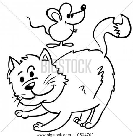 simple black and white cat and mouse cartoon illustration