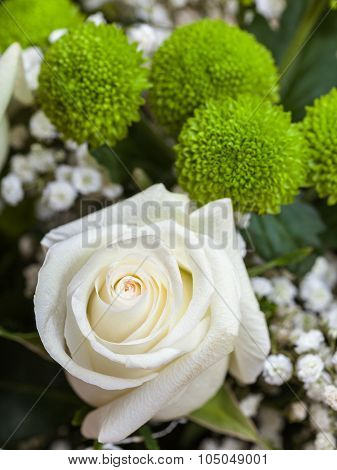 Fresh White Rose In Bunch Of Flowers