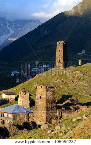 Sunset At Ushguli ,fortified Medieval Town In Caucasus Mountains,svaneti, Georgia, Unesco Heritage S