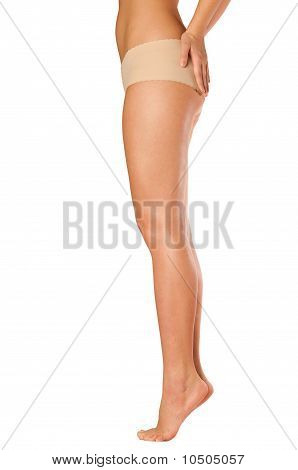 Beautiful Long Legs On Tiptoe  Of A Young Woman. Side View.