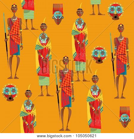 couple Of Maasai In Traditional Dress. Seamless Background Pattern.