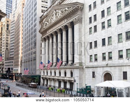 NEW YORK,USA - AUGUST 15,2015 : The New York Stock Exchange in Manhattan Financial District