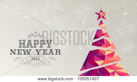 Happy New Year 2016 Card Christmas Tree Triangle