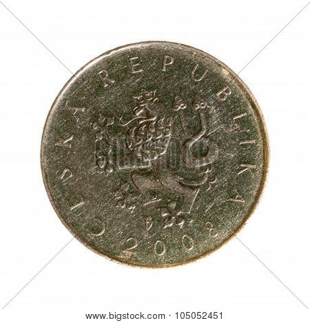 Czech Koruna Coin One Isolated On White Background. Top View .