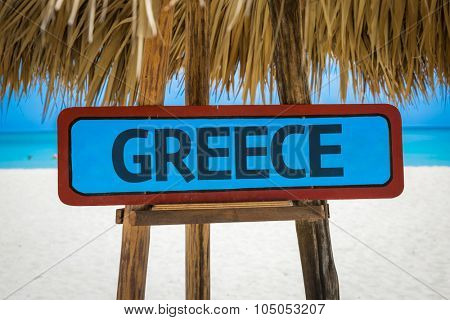 Greece sign with beach background