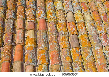 Close up of old rust red roof texture tile. Architecture background.