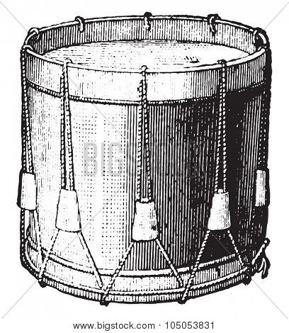 Snare drum strings, vintage engraved illustration. Industrial encyclopedia E.-O. Lami - 1875.